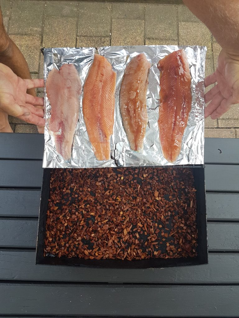 Trout Going In The Smoker