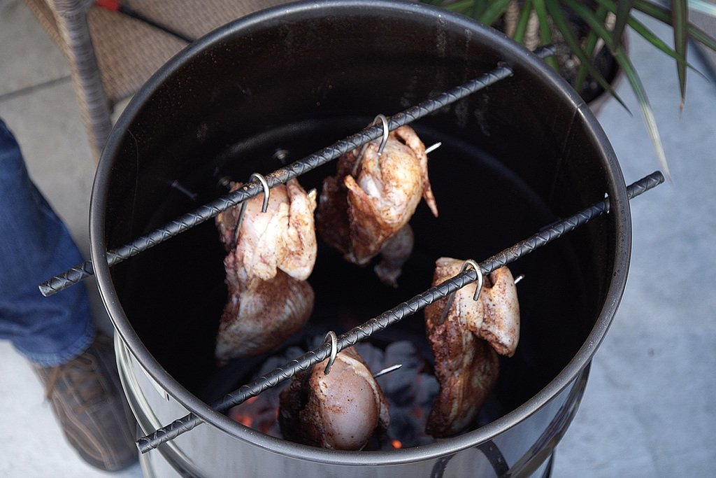 The Pit Barrel Cooker Cooking Hanging Meat