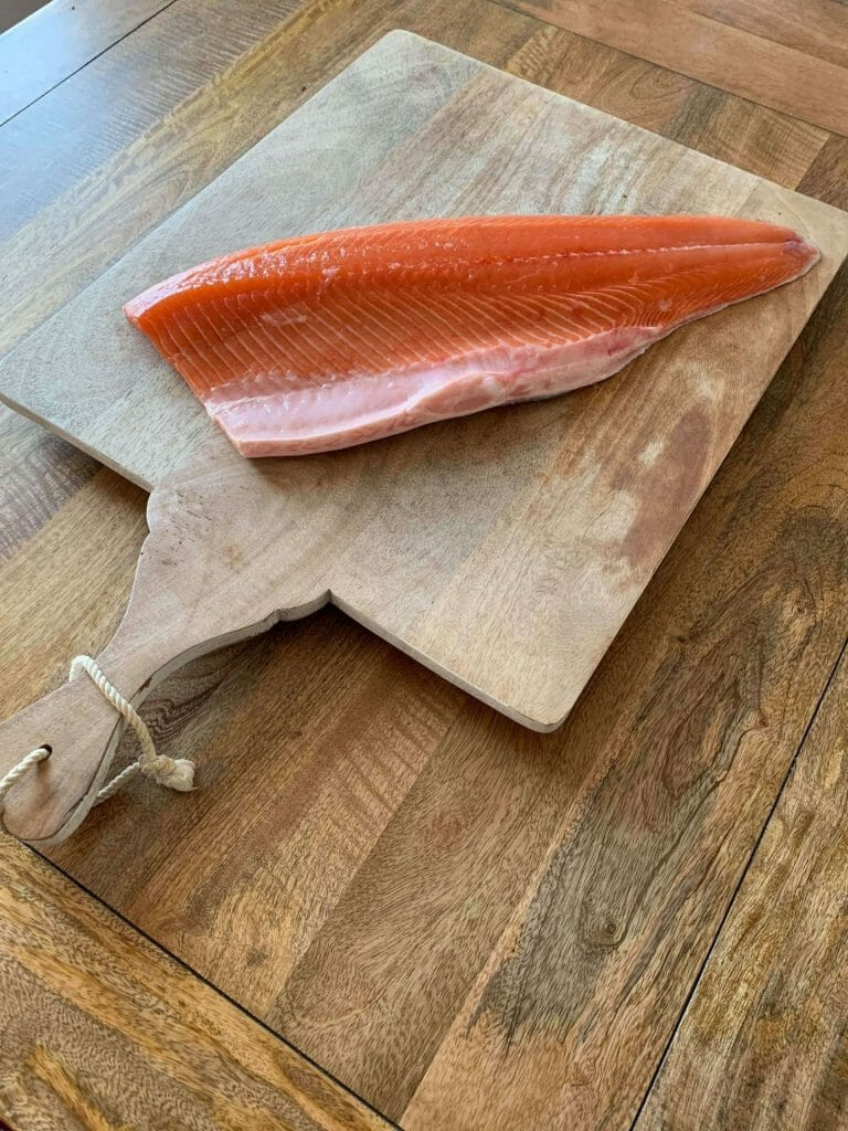 preparing the salmon to cold smoke it