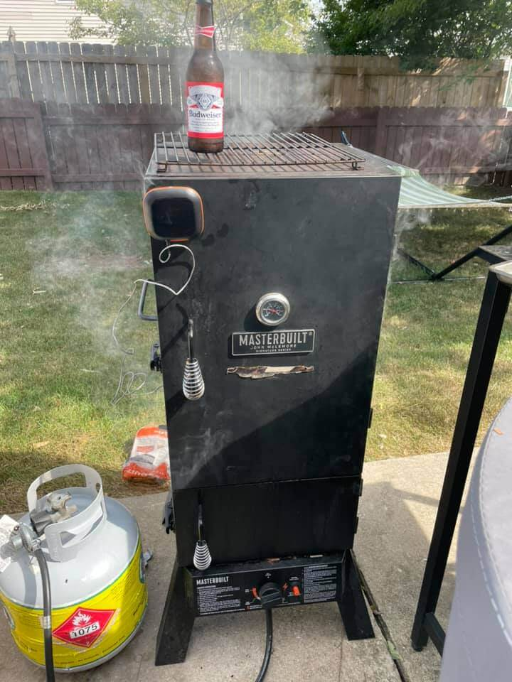 smoked beer can chicken in my pit boss smoker