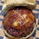 smoked hamburger recipe on bun with bbq sauce
