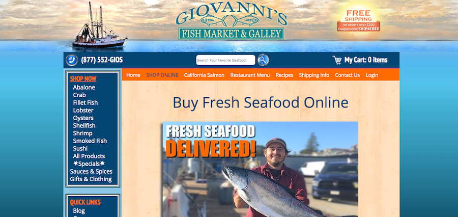 Giovannis Fish Market Homepage