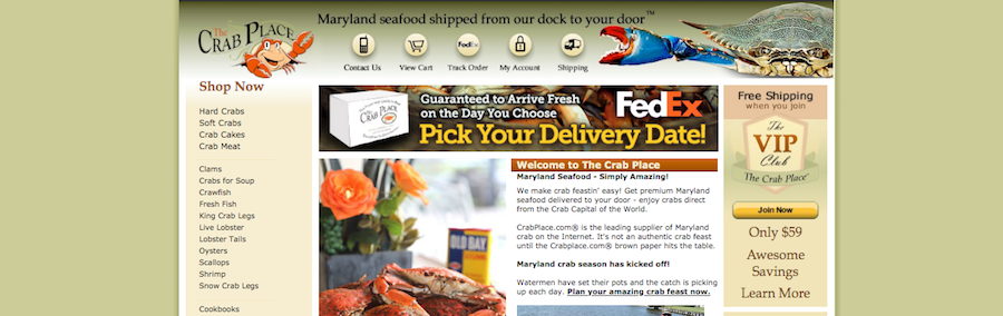 The Crab Place Homepage