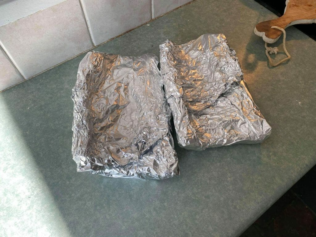 ribs rwrapped in foil after first part of smoking them