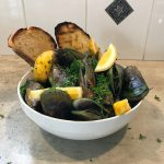 grilled mussels in a bowl