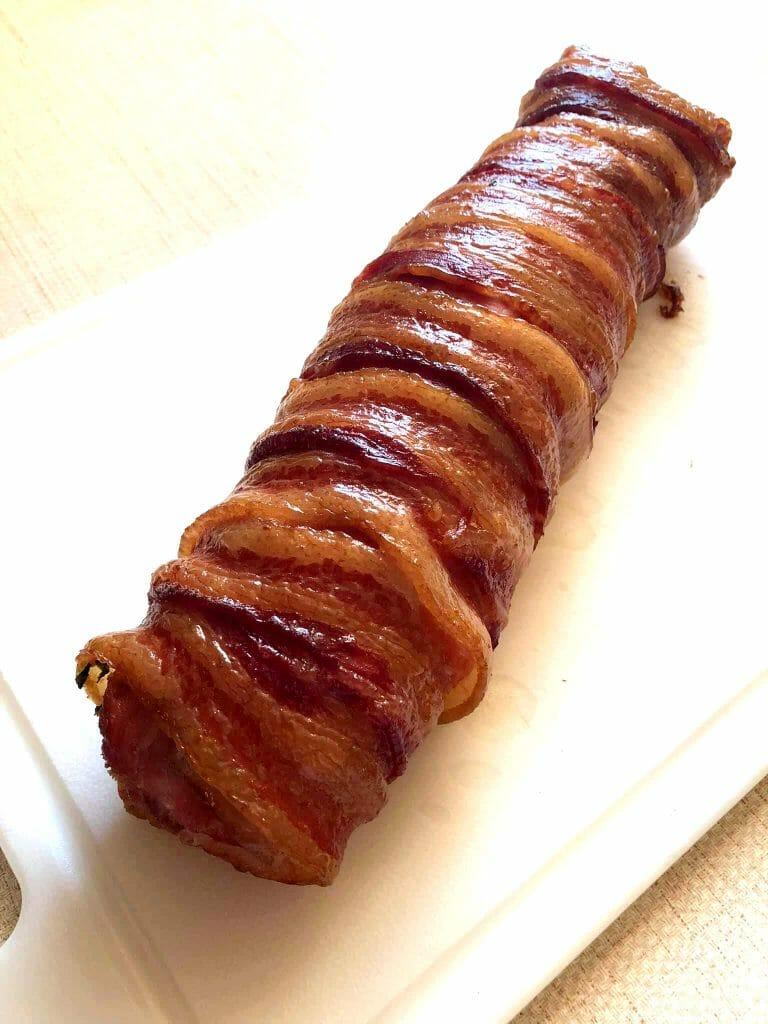 bbq stuffed pork loin on the plate